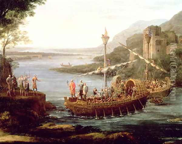 Landscape with the arrival of Aeneas at Pallanteum (detail) Oil Painting - Claude Lorrain (Gellee)