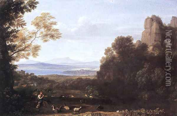 Landscape with Apollo and Mercury 1660 Oil Painting - Claude Lorrain (Gellee)