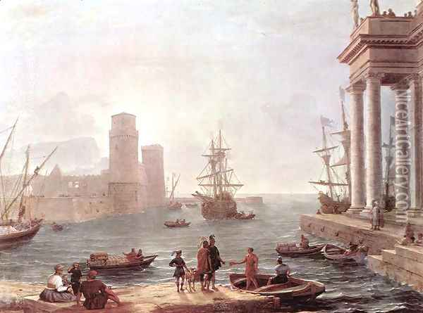 Port Scene with the Departure of Ulysses from the Land of the Feaci 1646 Oil Painting - Claude Lorrain (Gellee)