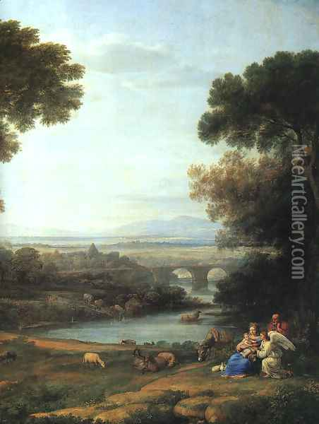 Landscape with the Rest on the Flight into Egypt (detail) 1666 Oil Painting - Claude Lorrain (Gellee)