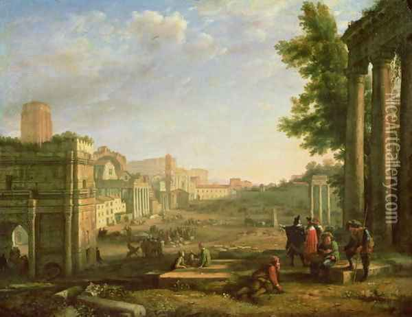 View of the Campo Vaccino, Rome, 1636 Oil Painting - Claude Lorrain (Gellee)