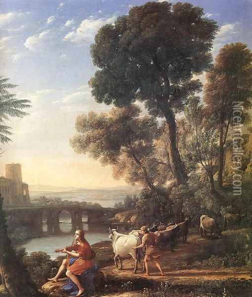 Landscape with Apollo Guarding the Herds of Admetus 1645 Oil Painting - Claude Lorrain (Gellee)