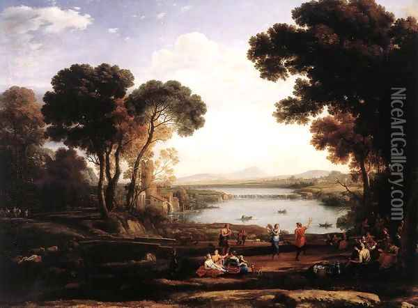 Landscape With Dancing Figures (The Mill) Oil Painting - Claude Lorrain (Gellee)