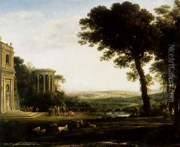 Landscape With A Sacrifice To Apollo Oil Painting - Claude Lorrain (Gellee)