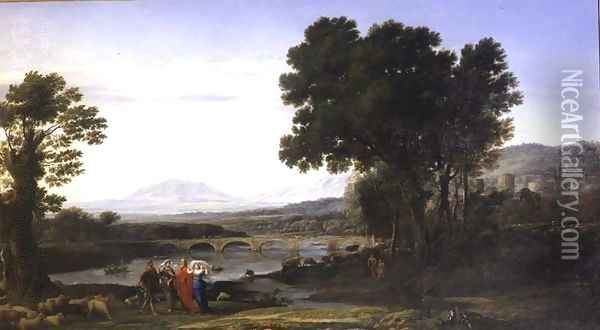 Landscape with Jacob and Laban and Laban's Daughters, 1654 Oil Painting - Claude Lorrain (Gellee)
