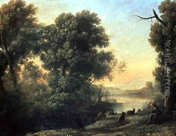 River landscape with Goatherd Piping Oil Painting - Claude Lorrain (Gellee)