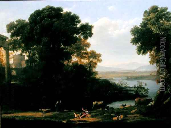 Classical river scene with a view of a town Oil Painting - Claude Lorrain (Gellee)