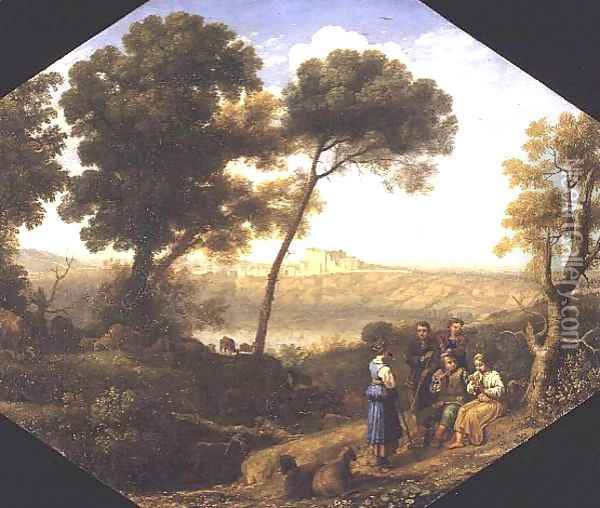 Pastoral landscape with a view of Lake Albano and Castel Gondolfo, 1639 Oil Painting - Claude Lorrain (Gellee)