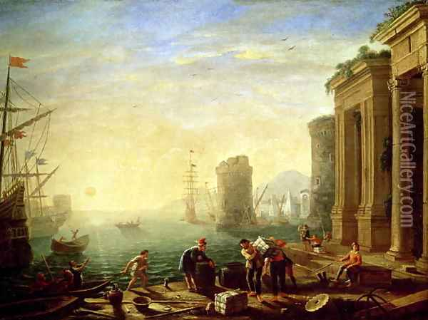 Morning at the Port, 1640 Oil Painting - Claude Lorrain (Gellee)