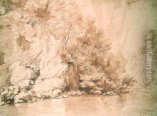 A Study for a landscape Oil Painting - Claude Lorrain (Gellee)
