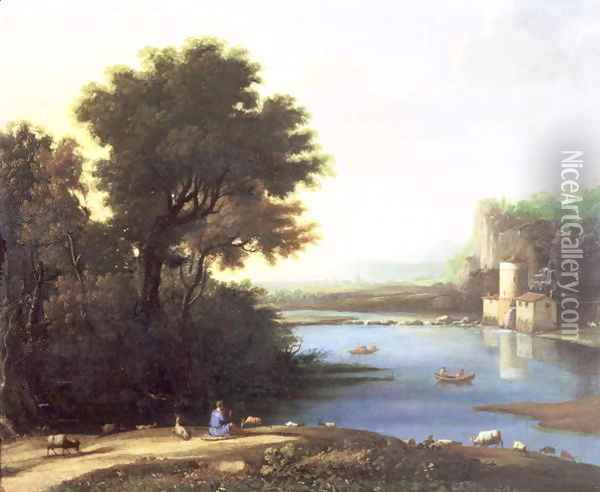 Italianate Landscape with a Goatherd Piping to his Goats Oil Painting - Claude Lorrain (Gellee)