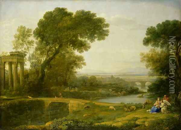 The Rest on the Flight into Egypt Oil Painting - Claude Lorrain (Gellee)