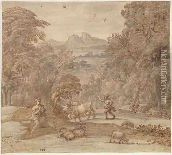 Landscape with Mercury and Apollo as a Shepherd, 1673 Oil Painting - Claude Lorrain (Gellee)