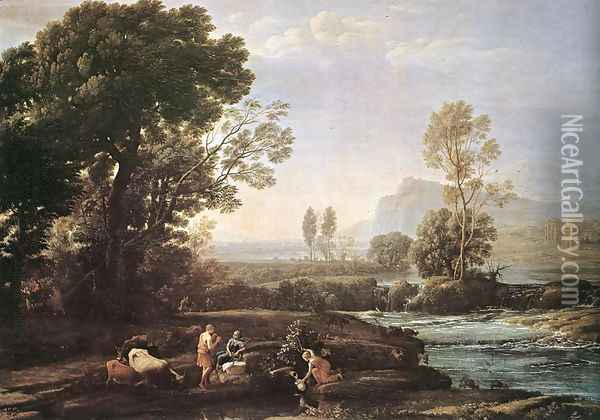 Landscape with Rest in Flight to Egypt 1647 Oil Painting - Claude Lorrain (Gellee)