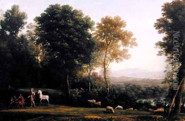 Landscape with Erminia in Discourse with the Old Man and his Sons Oil Painting - Claude Lorrain (Gellee)