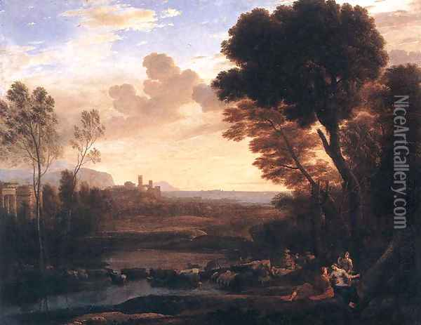 Landscape with Paris and Oenone 1648 Oil Painting - Claude Lorrain (Gellee)