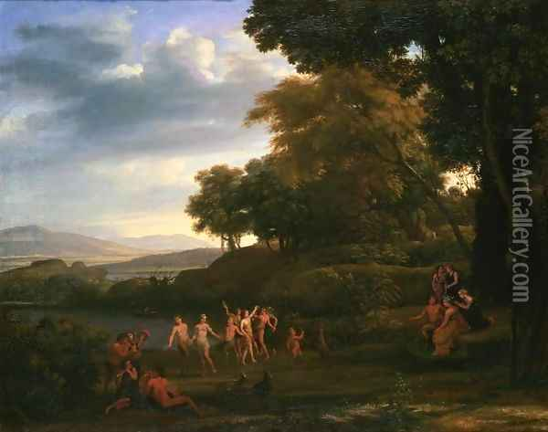 Landscape with Dancing Satyrs and Nymphs Oil Painting - Claude Lorrain (Gellee)