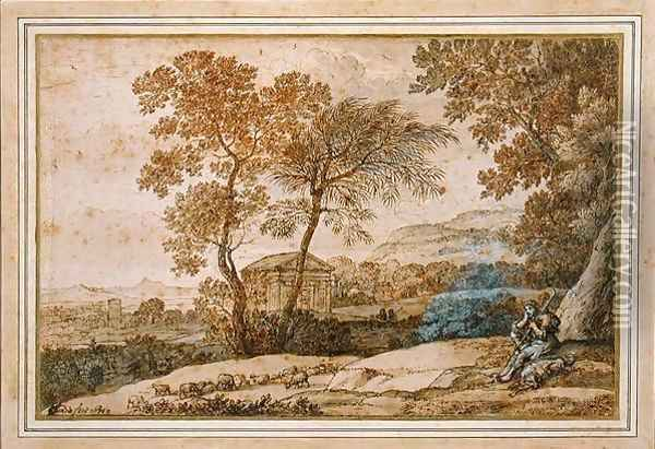 Landscape with a shepherd and his dog Oil Painting - Claude Lorrain (Gellee)