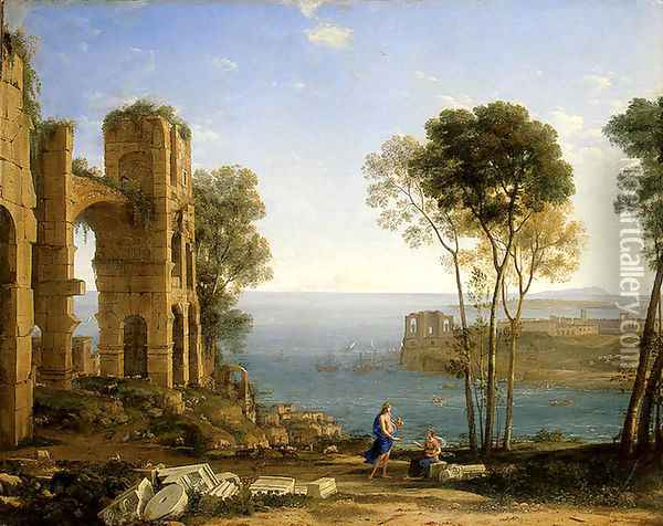 Coast View with Apollo and the Cumaean Siby Oil Painting - Claude Lorrain (Gellee)