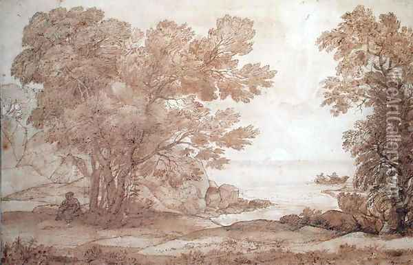 Study for a landscape with Psyche and the Palace of Love, 1663 Oil Painting - Claude Lorrain (Gellee)