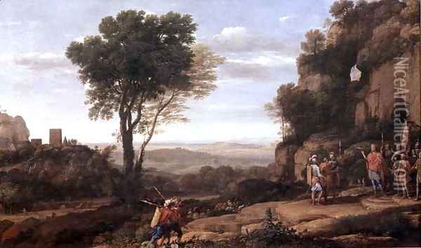 Landscape with David at the Cave of Abdullam, 1658 Oil Painting - Claude Lorrain (Gellee)