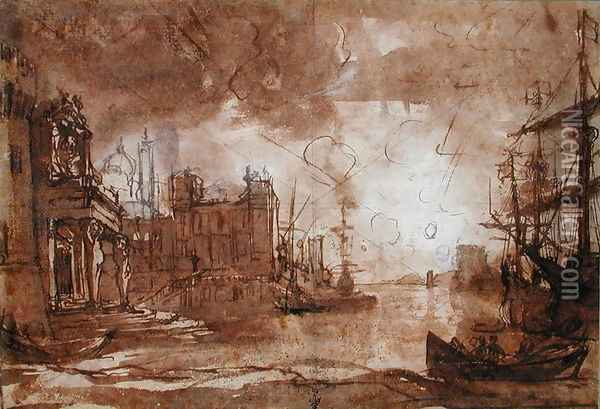 View of a Port with Setting Sun Oil Painting - Claude Lorrain (Gellee)