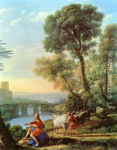 Landscape with Apollo and Mercury Oil Painting - Claude Lorrain (Gellee)