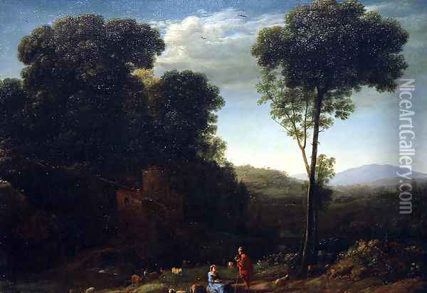 Pastoral Landscape with a Mill Oil Painting - Claude Lorrain (Gellee)