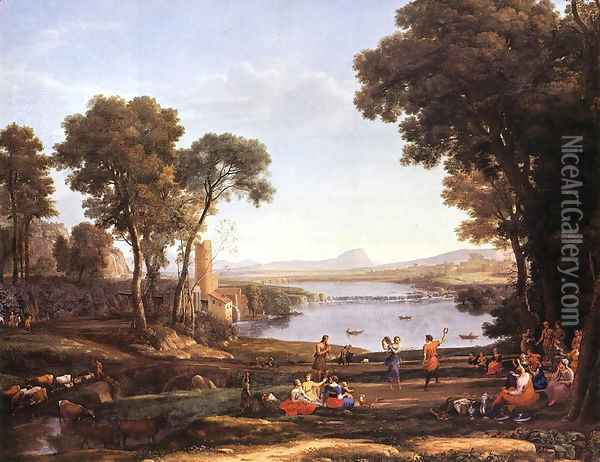 Landscape with Dancing Figures Oil Painting - Claude Lorrain (Gellee)