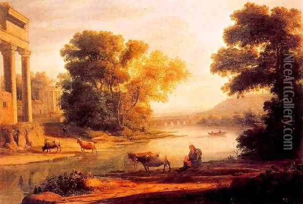 The ford Oil Painting - Claude Lorrain (Gellee)