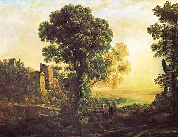 Landscape with pastors 2 Oil Painting - Claude Lorrain (Gellee)