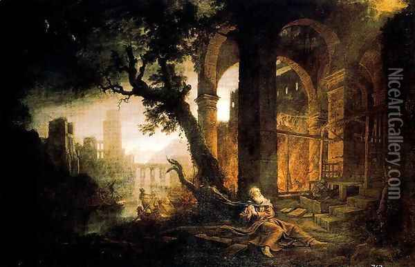 Landscape with the temptations of San Antonio Abad Oil Painting - Claude Lorrain (Gellee)