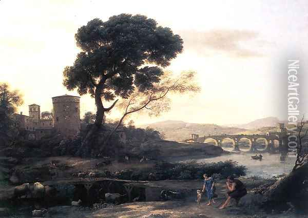 Landscape with Shepherds, The Pont Molle Oil Painting - Claude Lorrain (Gellee)