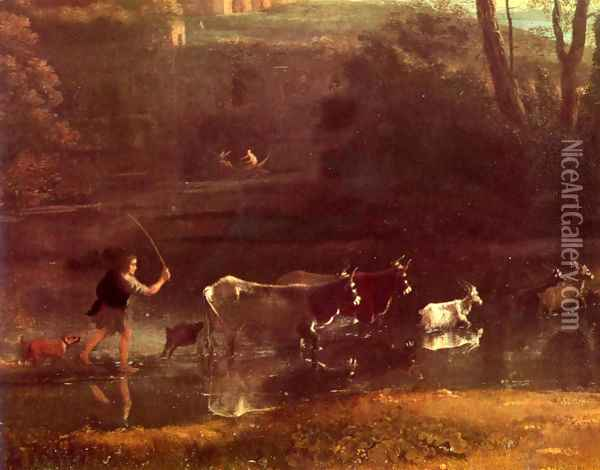 Villa at the Campagna in Rome, detail Oil Painting - Claude Lorrain (Gellee)