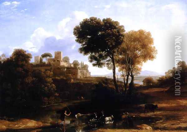 Villa at the Campagna in Rome Oil Painting - Claude Lorrain (Gellee)