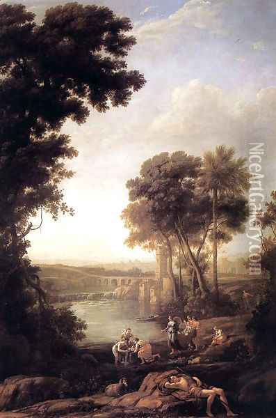 Landscape with Moses saved from the waters Oil Painting - Claude Lorrain (Gellee)