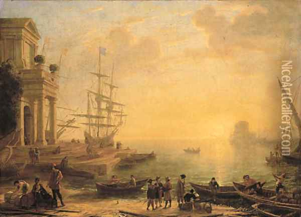 A capriccio of an Italianate harbour at sunset, with merchants, fishermen and stevedores on the shore in the foreground, men-o'-war at a quay beyond Oil Painting - Claude Lorrain (Gellee)