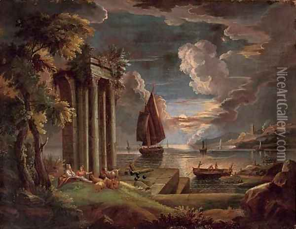 A Mediterranean coastal landscape at twilight with shepherdesses and their goats at rest by classical ruins, shipping beyond Oil Painting - Claude Lorrain (Gellee)