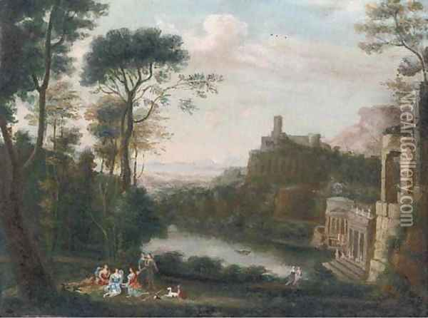 A classical landscape with figures above a lake Oil Painting - Claude Lorrain (Gellee)