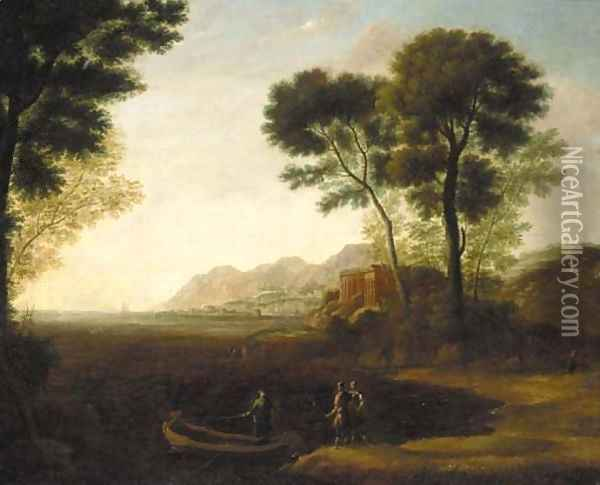A coastal inlet with the embarkation of Carlo and Ubaldo Oil Painting - Claude Lorrain (Gellee)