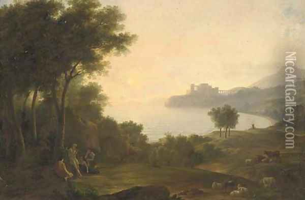 A Mediterranean coastal inlet with classical figures playing music, a fortress in the distance Oil Painting - Claude Lorrain (Gellee)