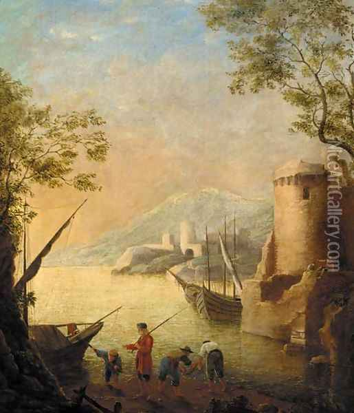A harbour at sunset with fishermen by the shore Oil Painting - Claude Lorrain (Gellee)