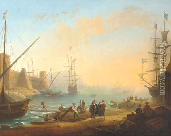 A Mediterranean harbour with shipping and merchants on the shore Oil Painting - Claude Lorrain (Gellee)