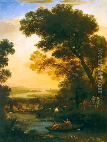 Ideal Landscape with the Flight into Egypt Oil Painting - Claude Lorrain (Gellee)