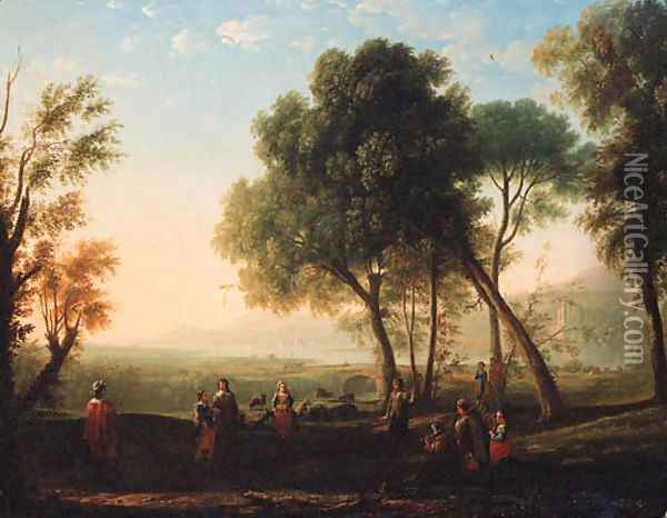 An Italianate river landscape with figures dancing in a glade Oil Painting - Claude Lorrain (Gellee)