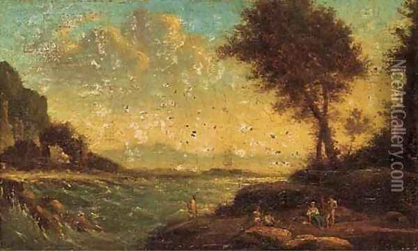 Figures resting by the shore Oil Painting - Claude Lorrain (Gellee)