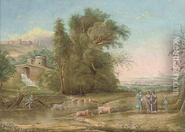 A wooded river landscape with a waterfall beneath a tower, drovers in the foreground Oil Painting - Claude Lorrain (Gellee)