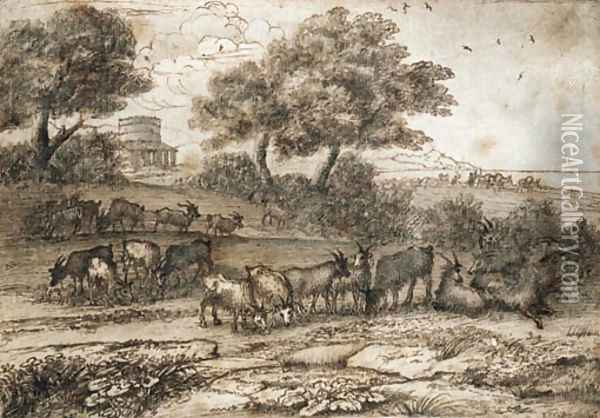 An extensive Mediterranean landscape with a tower and a herd of goats Oil Painting - Claude Lorrain (Gellee)
