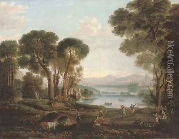 An Italianate river landscape with figures dancing and making music on a bank, a town beyond Oil Painting - Claude Lorrain (Gellee)