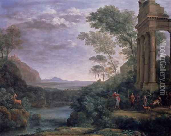 Landscape with Ascanius Shooting the Stag of Sylvia Oil Painting - Claude Lorrain (Gellee)